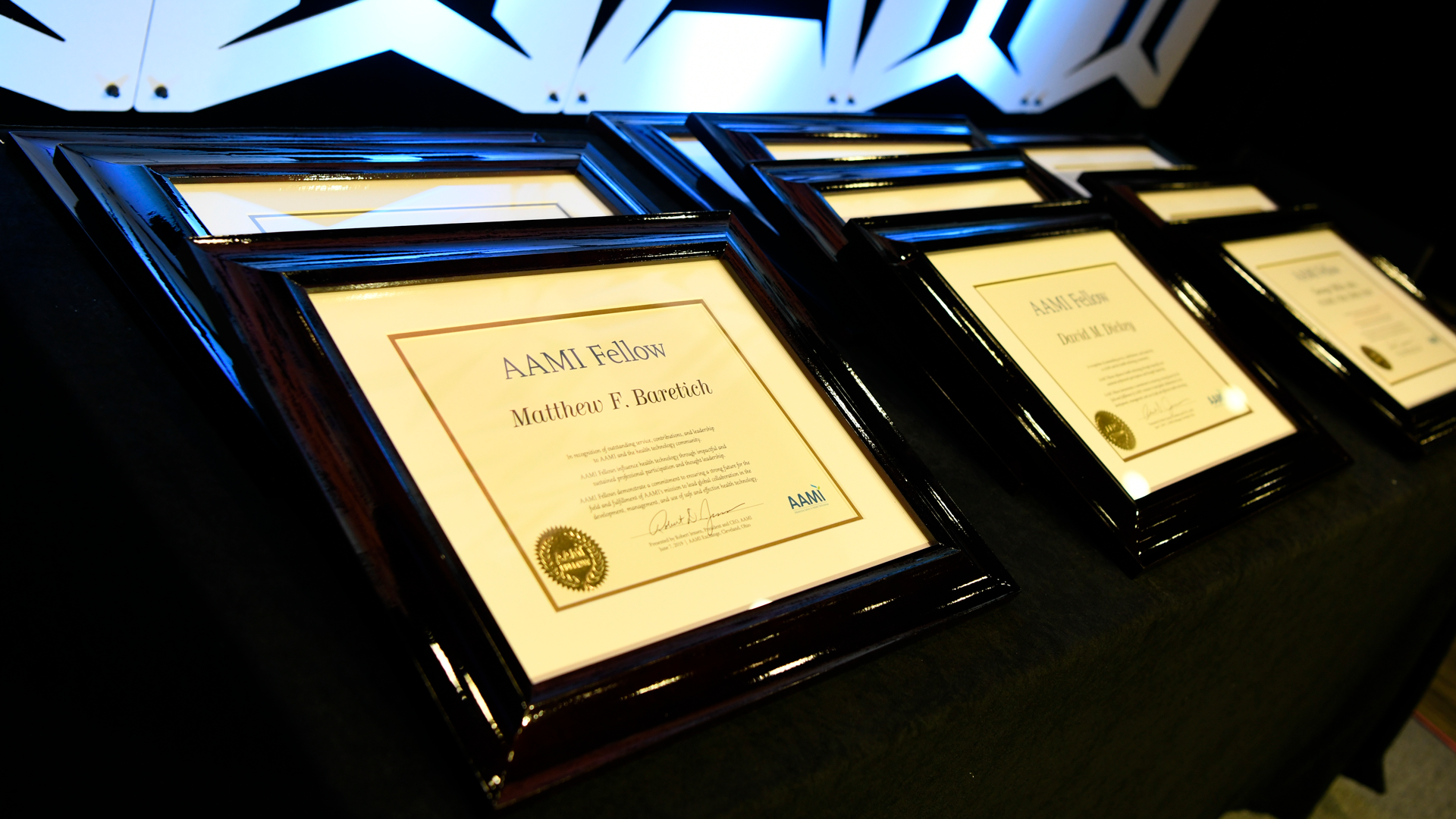 AAMI Fellows plaques ready to be presented to the 2019 AAMI Fellows.