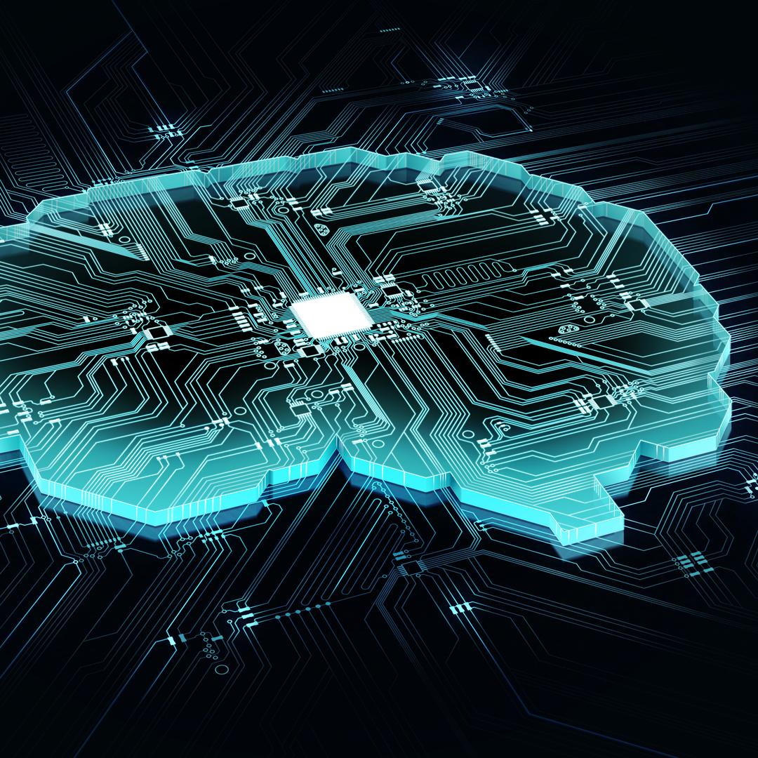 A visual concept of AI. Computer components shaped like a brain.