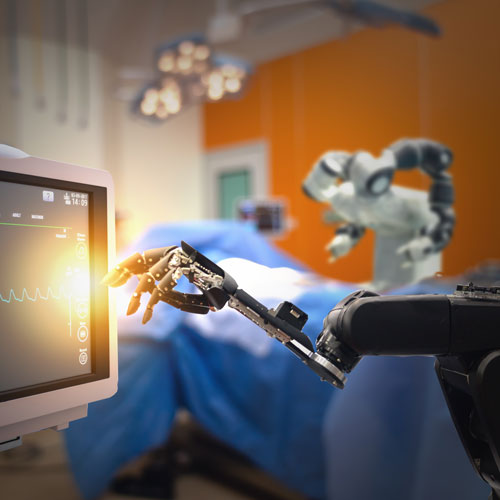 A futuristic surgery robot interreacts with a patient monitor.