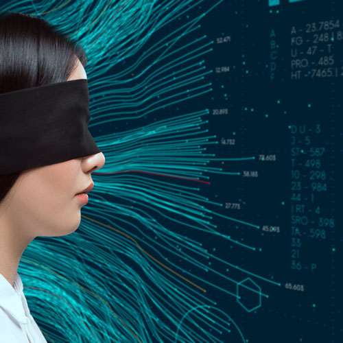 A blindfolded woman stand before a stream of data