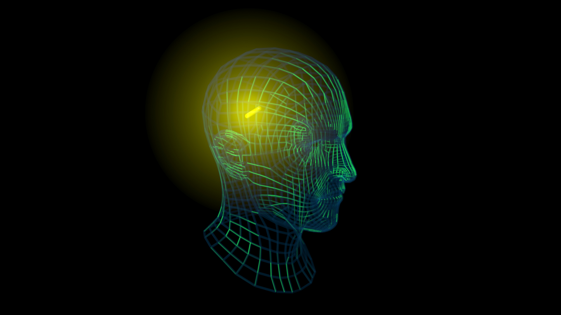 A wire frame of a human head with a glowing point representing a medical device implant.