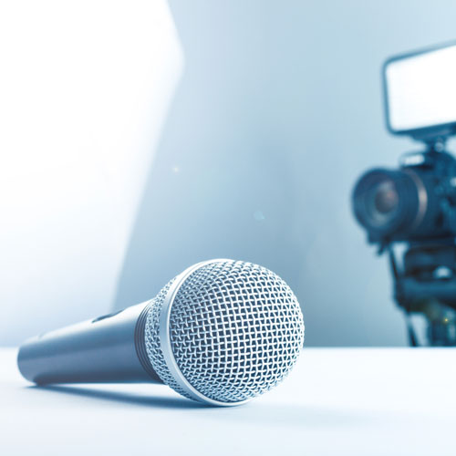 A camera and microphone