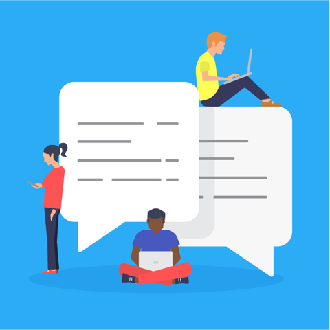 Illustration of various people sitting on speech bubbles while using devices to write comments.