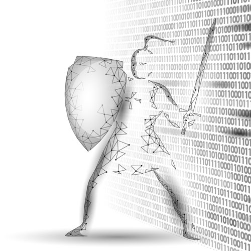 A knight made up of data defends a wall of 1s and 0s.