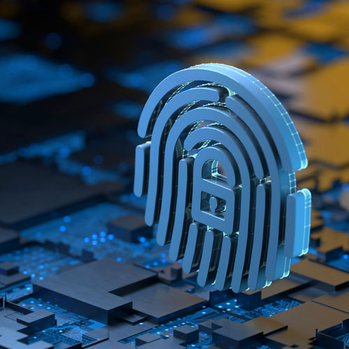 The symbol of a lock and fingerprint float above a computer motherboard.