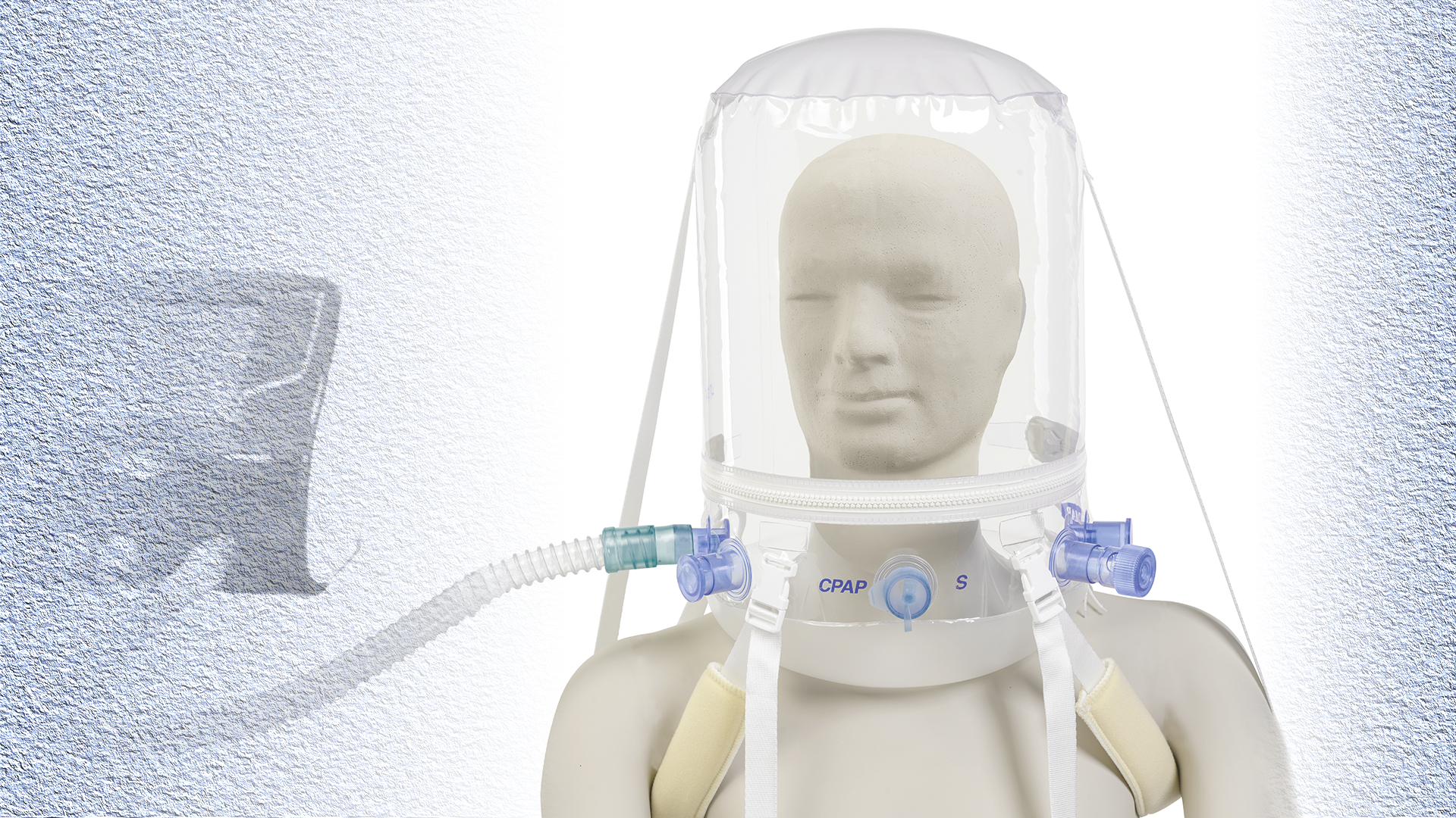 A photo of the Non Invasive Ventilation Helmet made by DIMAR S.r.l. in Medolla, Italy