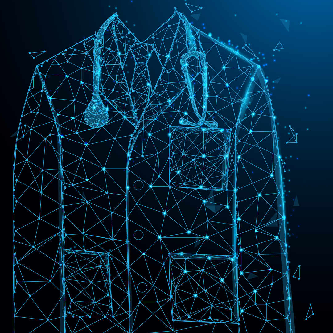 Abstract lines and code form the image of a doctor's coat and stethoscope.