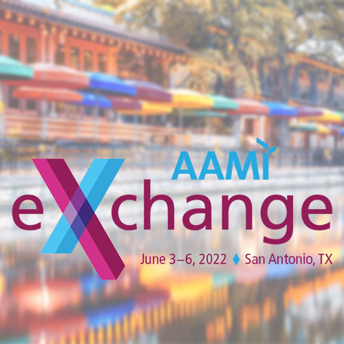 AAMI eXchange 2022 logo and the San Antonio Riverwalk