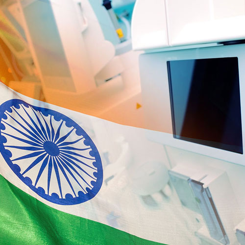 Indian flag over a medical device