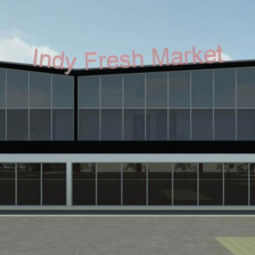 3D rendering of the full service grocery story