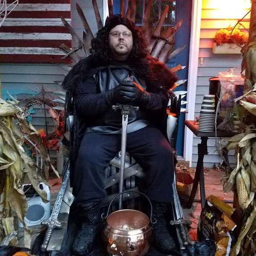Joe Deater dressed as Jon Snow from Game of Thrones for Halloween.