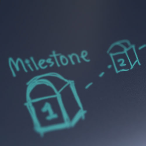 A milestone drawn on a chalk board