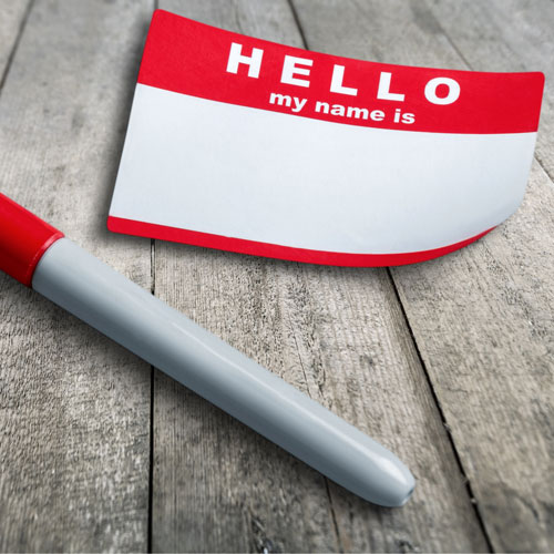 """A blank """"Hello my name is"""" nametag"""
