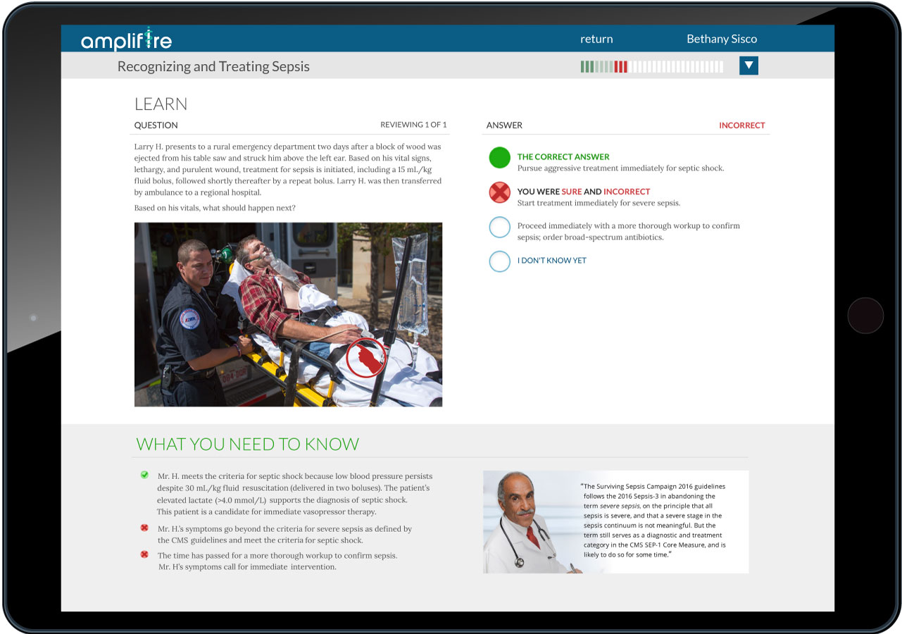 A picture of a tablet showcasing Amplifire's online training for medical professionals.