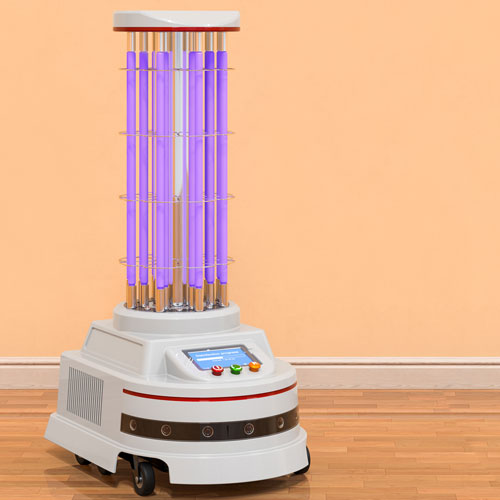 A robot designed for disinfecting surfaces using UV-C radiation