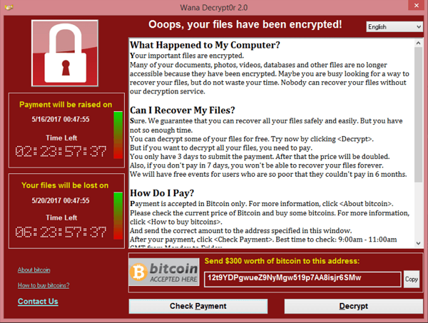 Screenshot of the message victims of the WannaCry ransomware attack received.