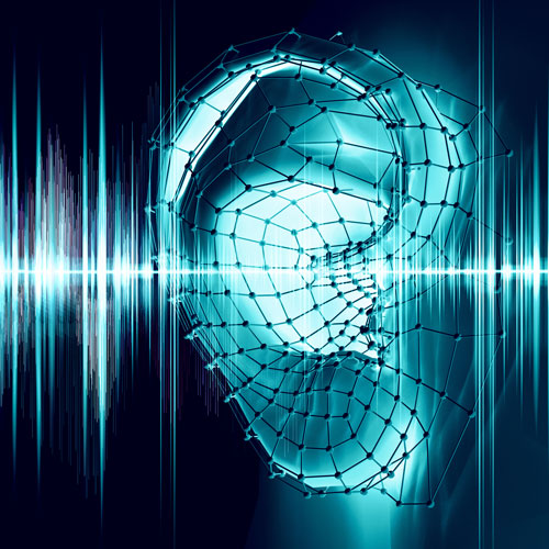 An audio waveform flows in and out of an ear